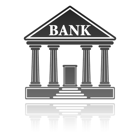 bank icon: illustration with a bank