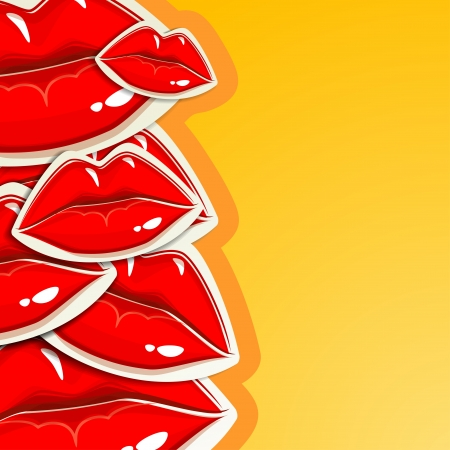 lipstick kiss: background with lips Stock Photo