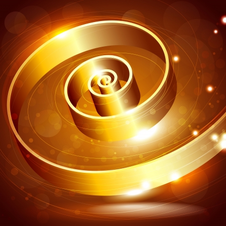 abstract background with golden swirl Stock Vector - 18826009