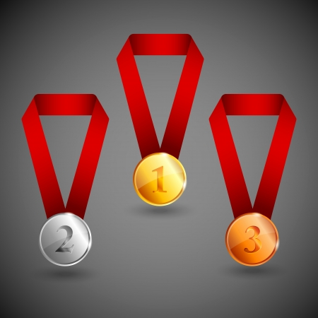 record breaking: set of gold, silver and bronze medals