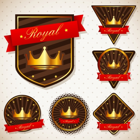 set of royal labels with retro vintage styled design  Vector