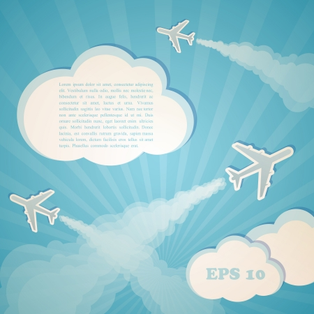 blue background with planes Vector