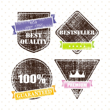 set of retro vintage grunge labels  Illustration