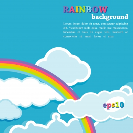 rainy season: background with rainbow and clouds Illustration