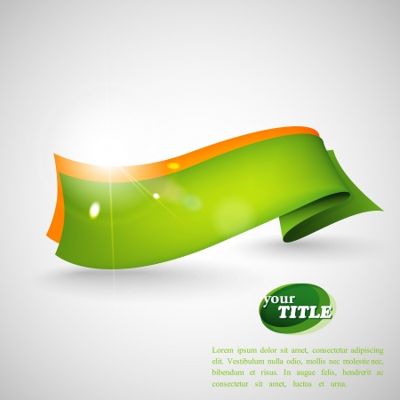 banner background: abstract background with green ribbon Illustration