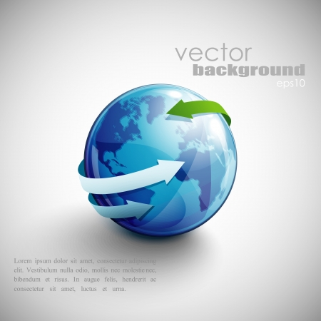 globe arrow: business concept design with blue globe and arrows