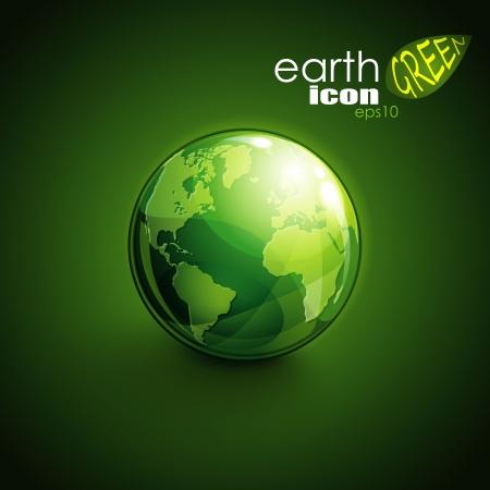 wereldbol groen: achtergrond met groene bolpictogram Stock Illustratie