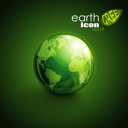 green world: background with green globe icon