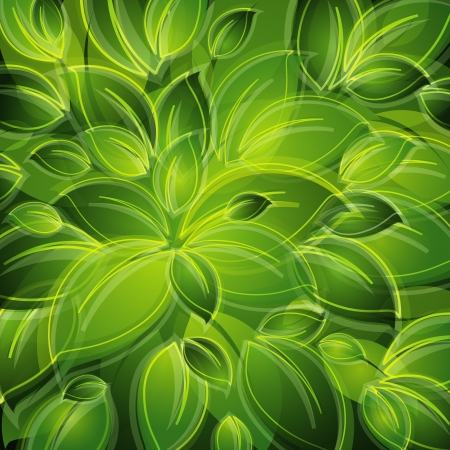 abstract background with green leaves Vector