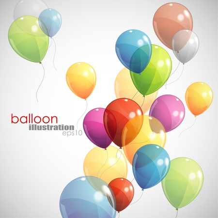 birthday party: background with multicolored balloons