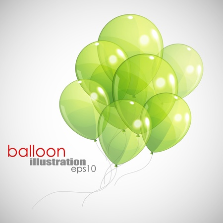 birthday balloons: background with green balloons  Illustration