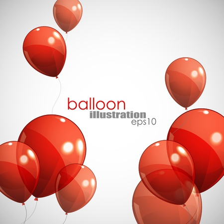 birthday balloons: background with red balloons  Illustration