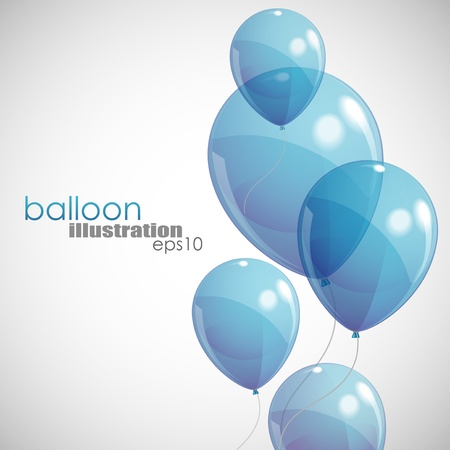 birthday balloons: background with blue balloons  Illustration