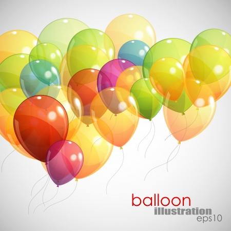 arrière-plan avec des ballons multicolores de vol Illustration