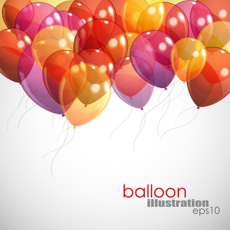 birthday party: background with multicolored flying balloons