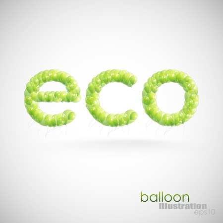 cor: eco background with green transparent balloons