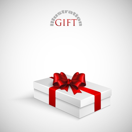 gift packs: gift box with red bow and ribbon