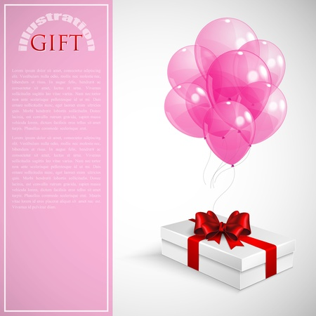 gift box with red bow and bunch of pink transparent balloons Stock Vector - 18858047