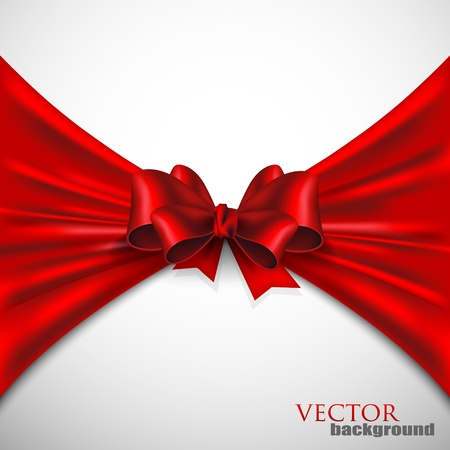background with red bow Stock Vector - 18858073