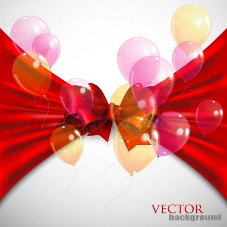 tuck: background with red bow and flying transparent balloons