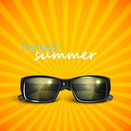 rayos de sol: gafas de sol con la reflexión isla tropical. antecedentes de verano