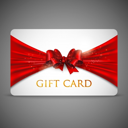 gift card with red bow Stock Vector - 18857985