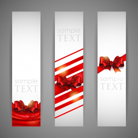 set of banners with red bows and ribbons Stock Vector - 18858005