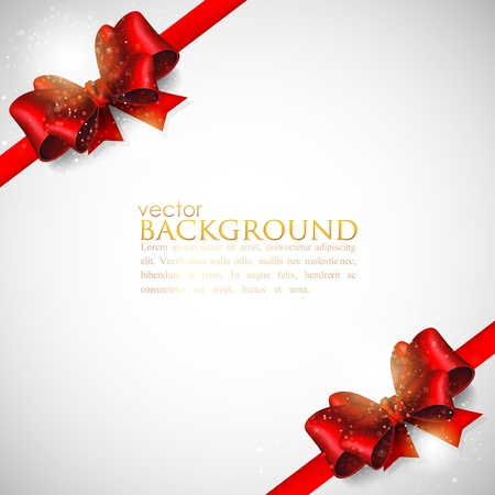 background with red bows and ribbons Stock Vector - 18858001