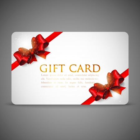 anniversary card: gift cards with red bows and ribbons Illustration