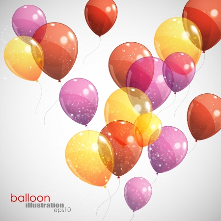red balloon: background with multicolored flying balloons