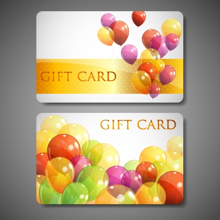 salaries: gift cards with multicolored balloons
