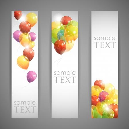 globos de cumpleaños: conjunto de banners de fiesta con globos multicolores Vectores