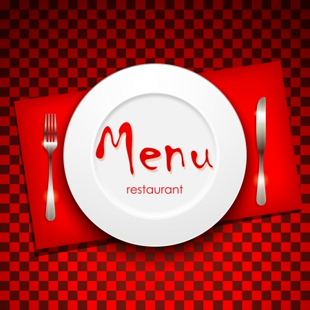 dinner menu: restaurant menu design with plate and silverware