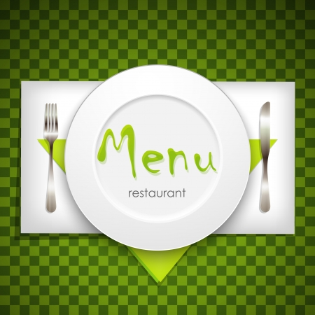 dessert plate: restaurant menu design with plate and silverware