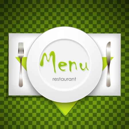 plato de comida: restaurante de dise�o del men� con plato y cubiertos