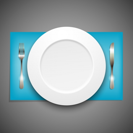 empty plate: illustration with plate and silverware