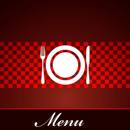 restaurant menu design with plate, fork and knife Stock Vector - 18857975