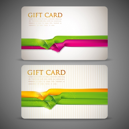 plastic card: gift cards with multicolored ribbons Illustration