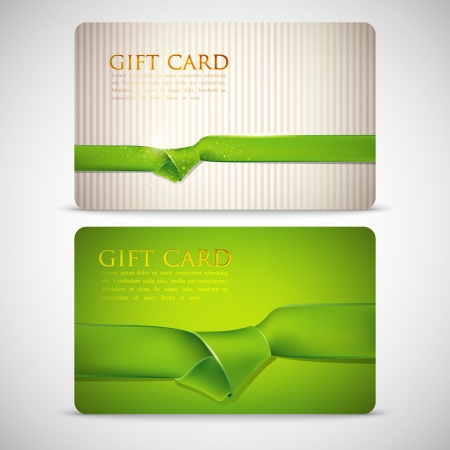 gift cards with green ribbons Vector