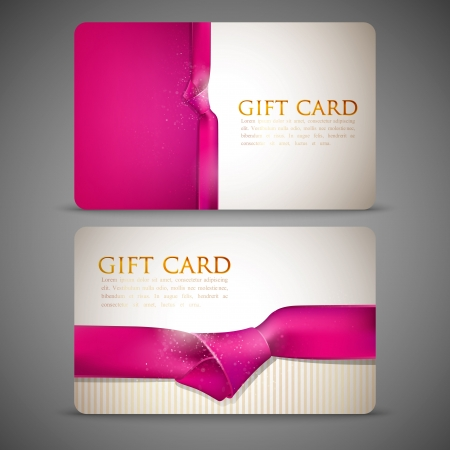 and pink ribbon: gift cards with pink ribbons