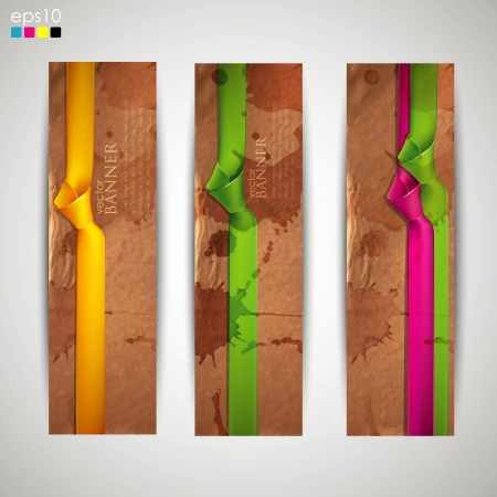 set of banners with grunge cardboard texture and multicolored ribbons Vector