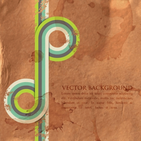 grunge retro background with colorful ribbons Vector