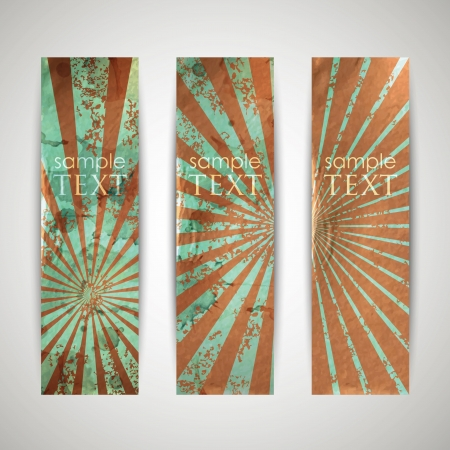 set of vintage banners with grunge cardboard texture Stock Vector - 18925276