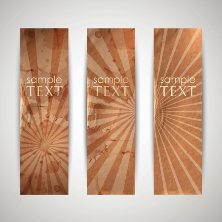 set of vintage banners with grunge cardboard texture Stock Vector - 18925267