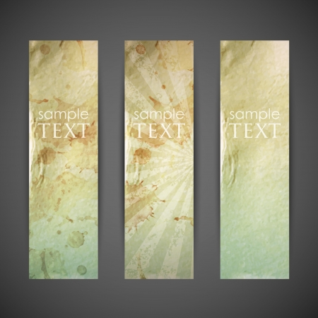 set of vintage banners with grunge cardboard texture Vector
