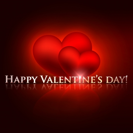 happy valentine�s day  holiday background with red hearts Stock Vector - 18925189