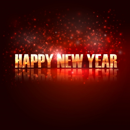 happy new year  holiday background with golden text Stock Vector - 18925279