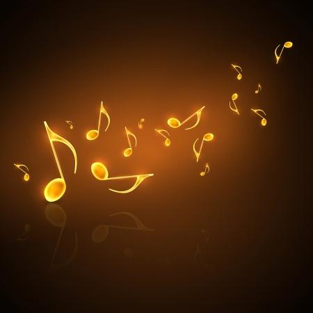musical note: fondo musical con notas de oro que fluye Vectores