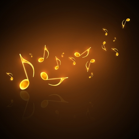 music concert: musical background with flowing golden notes