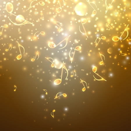 musical background with flowing golden notes Vector
